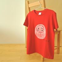 手描きTシャツ(Lサイズ・フルペイント) 〔赤・だるま〕