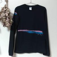 手描き長そでTシャツ(Lサイズ・片面ペイント) 〔青緑とピンク〕