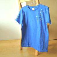 手描きTシャツ(Lサイズ・片面ペイント) 〔青×おとと〕