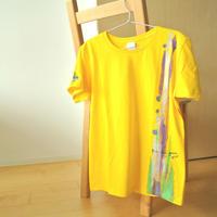 手描きTシャツ(Lサイズ・片面ペイント) 〔イエロー〕
