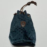 MADE IN ITALY製 Felisi レザー×ナイロンコンビ 巾着袋 ネイビー