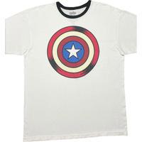 MARVEL AVENGERS  Captain Americaシールドプリント リンガーTシャツ ホワイト XLサイズ