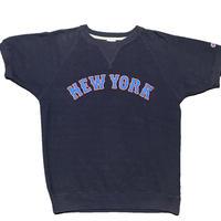 Champion NEW YORKロゴ 裏使い半袖スウェットTシャツ ネイビー Lサイズ
