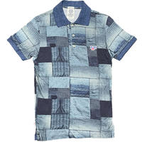 MADE IN ITALY製 FRANKLIN&MARSHALL ALUMNI プリント加工半袖ポロシャツ インディゴ XSサイズ