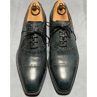 ROBUS ストレートチップメダリオン革靴 40 ブルーグリーンパテーヌ イタリア製