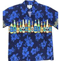 MADE IN HAWAII製 KY'S ビール柄アロハシャツ ネイビー Mサイズ