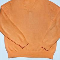 BROOKS BROTHERS ピマコットンVネックセーター Sサイズ オレンジ