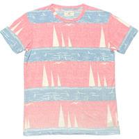 MADE IN USA製 SOL ANGELES ヨット柄半袖Tシャツ ピンク×サックス Sサイズ