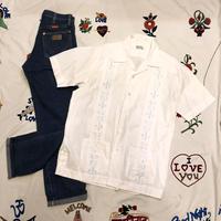 [USED]  かわいい刺繍♡ キューバシャツ