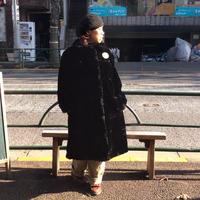 [USED] vintage 丸襟ロングフェイクファーコート