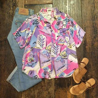 [USED] かわいいピンクの柄のレーヨンシャツ