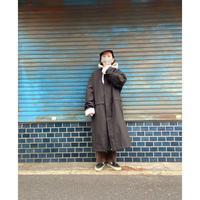 [USED] BLACK NYLON  LONG COAT