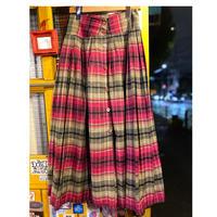 [USED] ピンク×グリーンチェック柄スカート