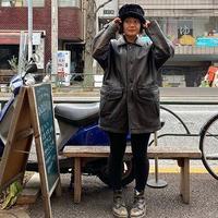 [USED] LEATHER CAR COAT♡