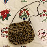 [USED] leopard fur shoulder bag♡