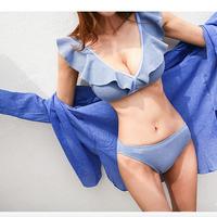 【在庫限り】Vフリルメッシュデザイン選べる4色ビキニ/水着