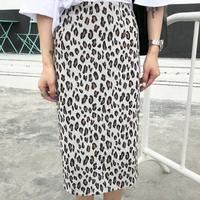 【再販】ヒョウ柄プリントバックスリットタイトスカート 2色