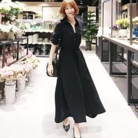 マキシ丈ブラックシャツワンピース S-XL