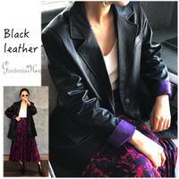 ブラックレザーxバイオレットテーラードジャケットS-XL