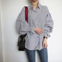 ボリューム袖ストライプデイリーシャツ/ブラウス S-XL