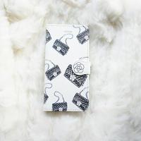 手帳型スマホケース AICA-96 カメリアマトラッセバッグ柄(ホワイト)普通サイズiPhone/Android S/M