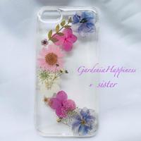 【在庫あり】ペアでリースの様に❤︎ピンク スマホケース 押し花 花柄 ドライフラワー iPhoneケース
