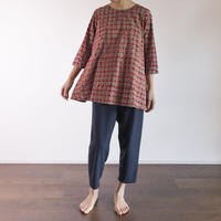 Hand Block Printed Bias Tunic (Red & Gray Dots)