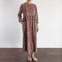Hand Block Printed Dolly Maxi Dress (Red & Gray Stripe)