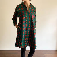 Hand Block Printed A Line Blouse (Red & Green Marigold)