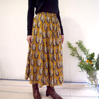 Hand Block Printed Mermaid Skirt (Yellow Flower)