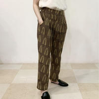 Hand Block Printed Pleated Tapered Pants (Beige Acanthus)