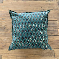Hand Block Printed Cushion Cover 45*45 (Green & Black Flower)