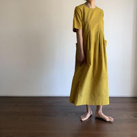 Hand Block Printed Stripe Maxi Dress (Yellow)