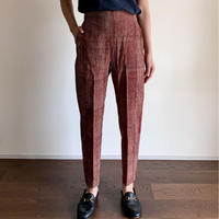 Hand Block Printed Side Border Pants (Red)