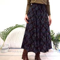Hand Block Printed Mermaid Skirt ( Flower Bouquet Blue)