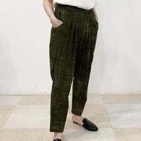 Hand Block Printed Pleated Tapered Pants (Brush Khaki)