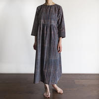 Hand Block Printed Dolly Maxi Dress (Blue Check)