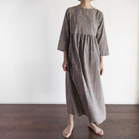 Hand Block Printed Dolly Maxi Dress (Gray Flower)