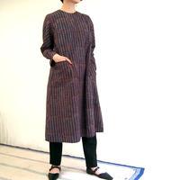 Hand Block Printed Asymmetry Pocket Dress (Blue Dabu)