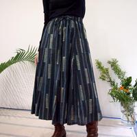Hand Block Printed Mermaid Skirt ( Indigo Blue Stripe )