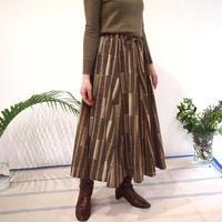 Hand Block Printed Mermaid Skirt ( Yellow /Gray Stipe )