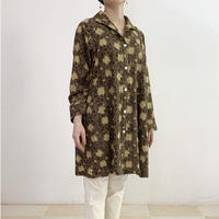 Hand Block Printed A Line Tunic Shirts (Gray & Yellow Lotus Arabesque)