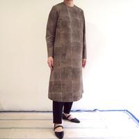 Hand Block Printed Asymmetry Dress  (Gray Strips)