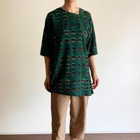 Hand Block Printed Asymmetry Tunic (Black & Green Marigold)