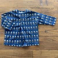 Hand Block Print Pullover Shirt #5  (Indigo Owl)