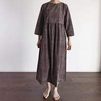 Hand Block Printed Dolly Maxi Dress (Gray Check)