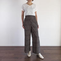 Hand Block Printed Wide Pants (Black Crove)