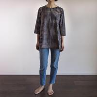Hand Block Printed Bias Tunic (Indigo Stripe)