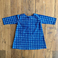 Hand Block Print Dress #6 (Indigo Check)