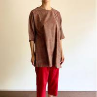 Hand Block Printed Asymmetry Tunic (Red & Gray Stripe)